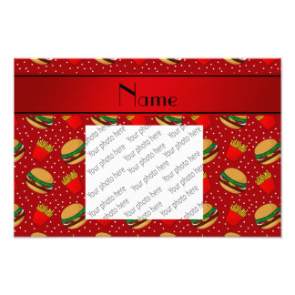 Personalized name red hamburgers fries dots photo print