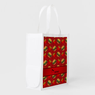 Personalized name red hamburgers fries dots market tote