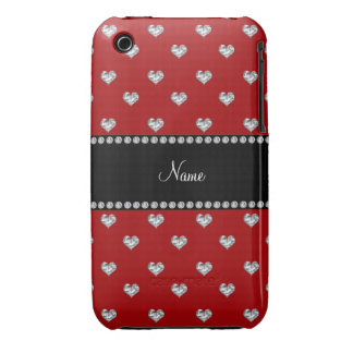 Personalized name red heart diamonds iPhone 3 cover
