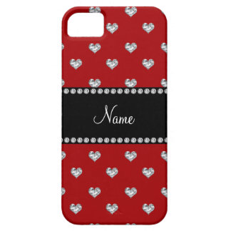 Personalized name red heart diamonds iPhone 5 case