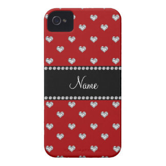 Personalized name red heart diamonds Case-Mate iPhone 4 cases