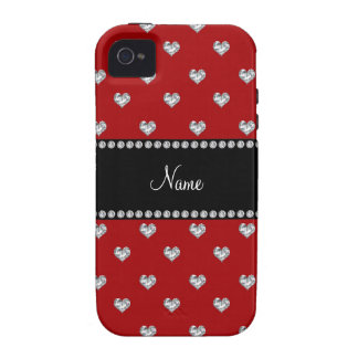 Personalized name red heart diamonds vibe iPhone 4 case