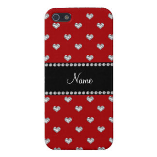 Personalized name red heart diamonds cover for iPhone 5
