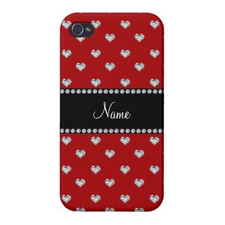 Personalized name red heart diamonds iPhone 4 covers