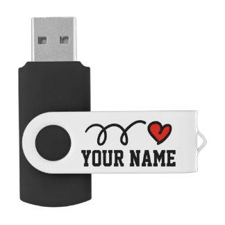 Personalized name red heart USB pen flash drive Swivel USB 2.0 Flash Drive