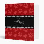 Personalized name red hearts and paw prints 3 ring binder