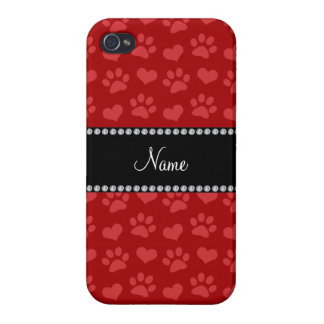 Personalized name red hearts and paw prints iPhone 4 case