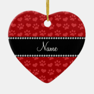 Personalized name red hearts and paw prints christmas ornaments