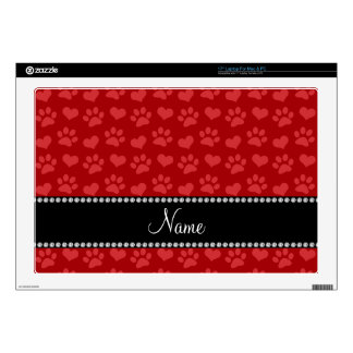 Personalized name red hearts and paw prints laptop decal