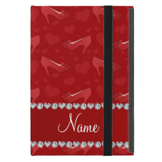 Personalized name red hearts shoes bows iPad mini case