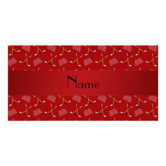 Personalized name red hockey pattern photo card