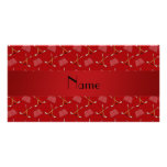 Personalized name red hockey pattern photo card template