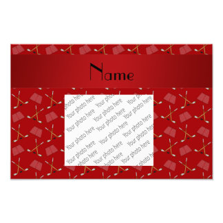 Personalized name red hockey pattern photograph