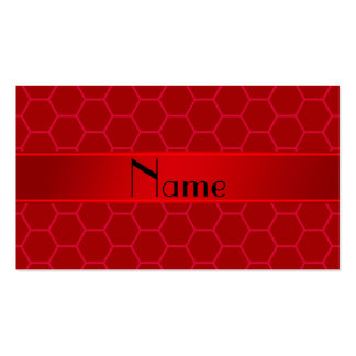 Personalized name red honeycomb Double-Sided standard business cards (Pack of 100)