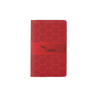 Personalized name red honeycomb pocket moleskine notebook cover with notebook