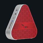 """Personalized name red honeycomb speaker<br><div class=""""desc"""">Honeycomb gift ideas. Honeycomb pattern with red background with red stripe personalized with your name gifts or monogram gifts or your initials.</div>"""