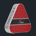"""Personalized name red horse pattern speaker<br><div class=""""desc"""">Modern and trendy Custom name red horses pattern background and with black diamonds diamonds (faux not real diamonds) with hearts and dots stripe personalized with just add your name gifts or monogram gifts or your initials for a unique gift. Horse gift ideas for women and girls. Ideal for birthdays. If...</div>"""
