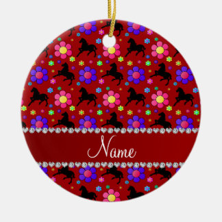 Personalized name red horses flowers pattern ceramic ornament