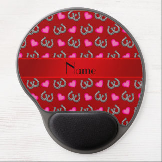 Personalized name red horseshoes hearts gel mouse pads