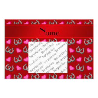 Personalized name red horseshoes hearts photo print