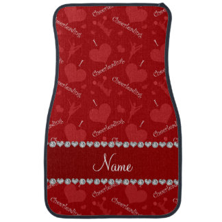 Personalized name red i love cheerleading hearts car mat