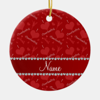 Personalized name red i love cheerleading hearts ceramic ornament