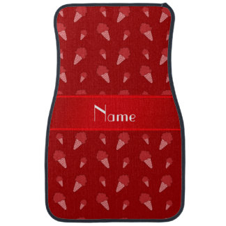 Personalized name red ice cream pattern car floor mat