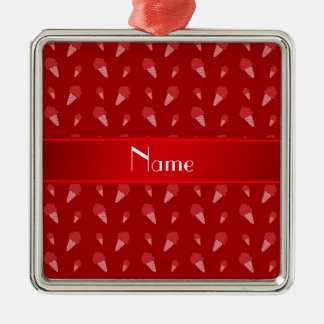 Personalized name red ice cream pattern christmas ornaments