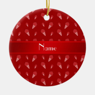 Personalized name red ice cream pattern christmas tree ornament