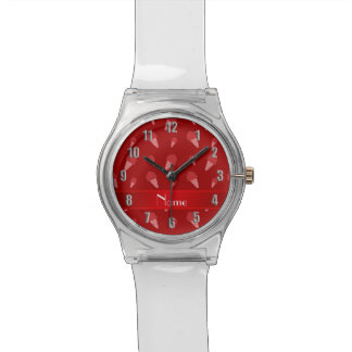 Personalized name red ice cream pattern wrist watches