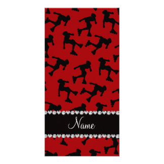 Personalized name red inline skating photo card
