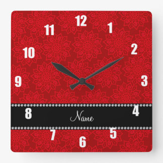 Personalized name red intricate flowers wallclock