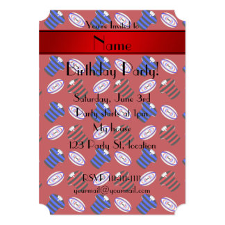Personalized name red jerseys rugby balls invitation