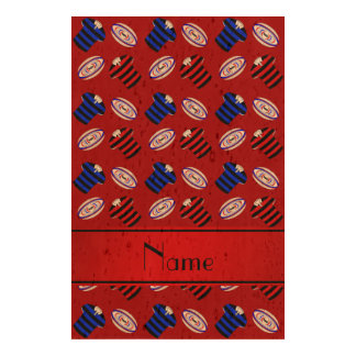 Personalized name red jerseys rugby balls cork fabric
