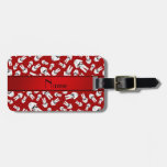 Personalized name red karate pattern tags for luggage