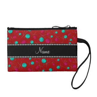 Personalized name red knitting pattern coin wallets