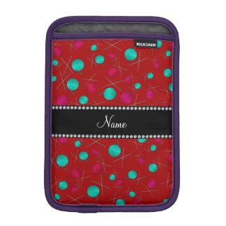 Personalized name red knitting pattern iPad mini sleeve