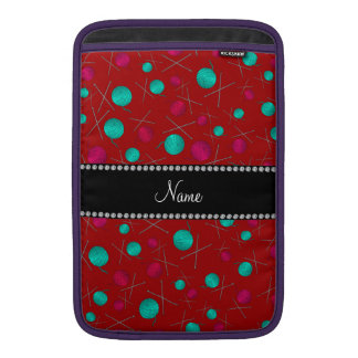 Personalized name red knitting pattern MacBook sleeve