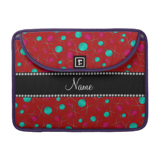 Personalized name red knitting pattern MacBook pro sleeves