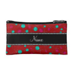 Personalized name red knitting pattern makeup bag