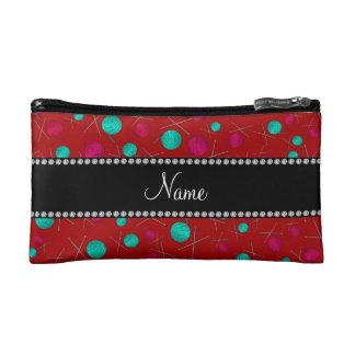 Personalized name red knitting pattern makeup bag