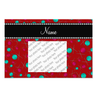 Personalized name red knitting pattern photo print