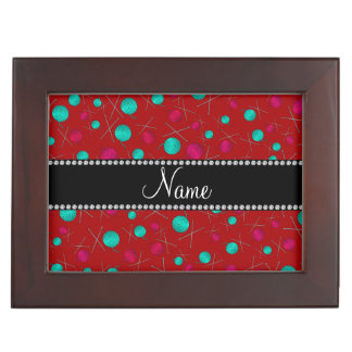 Personalized name red knitting pattern memory boxes