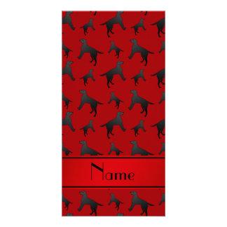 Personalized name red Labrador Retriever dogs Card