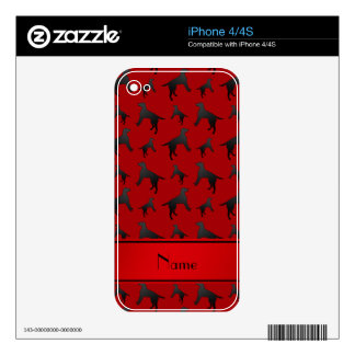 Personalized name red Labrador Retriever dogs Decal For The iPhone 4