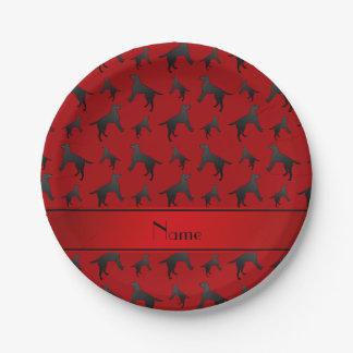 Personalized name red Labrador Retriever dogs Paper Plate