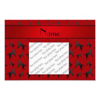 Personalized name red Labrador Retriever dogs Photo Print