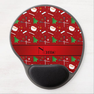Personalized name red lacrosse christmas pattern gel mouse pad