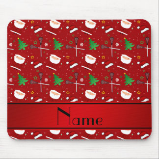 Personalized name red lacrosse christmas pattern mouse pad