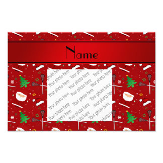 Personalized name red lacrosse christmas pattern photo